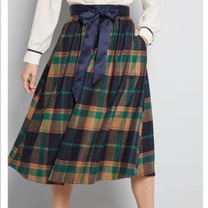 ModCloth Green Brown Plaid Midi Skirt